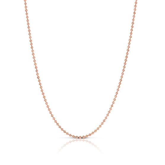 "Rose Gold Moon Cut Bead Chain 14K, 18"""