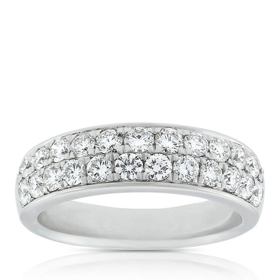Two Row Pavé Diamond Band 14K