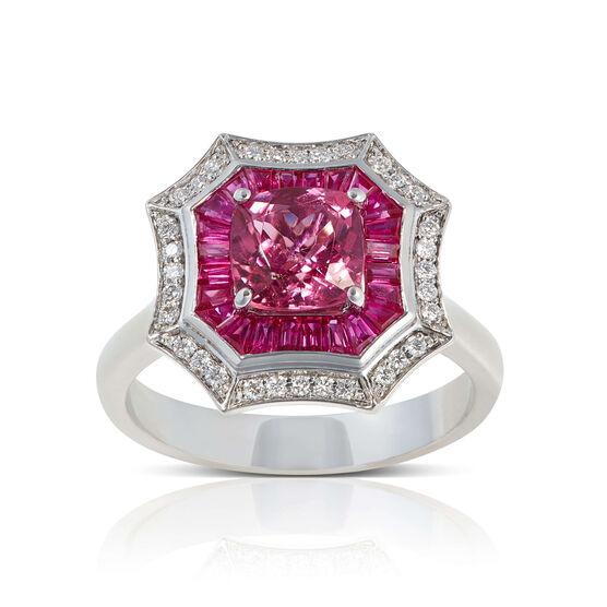 Square Pink Tourmaline, Baguette Ruby & Diamond Halo Ring 14K