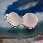 Lisa Bridge Rose Quartz Button Earrings in Sterling Silver