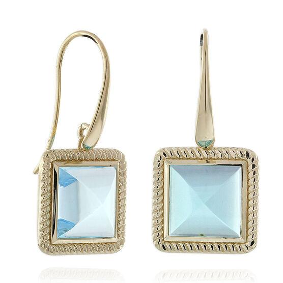 Blue Topaz Pyramid Rope Bezel Earrings 14K