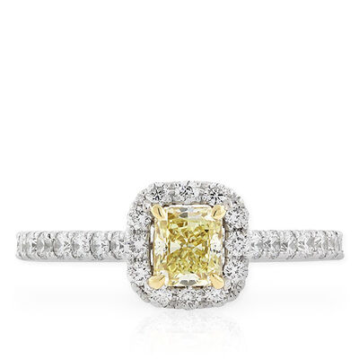 Radiant Cut Yellow Diamond Halo Ring .49 Ct.