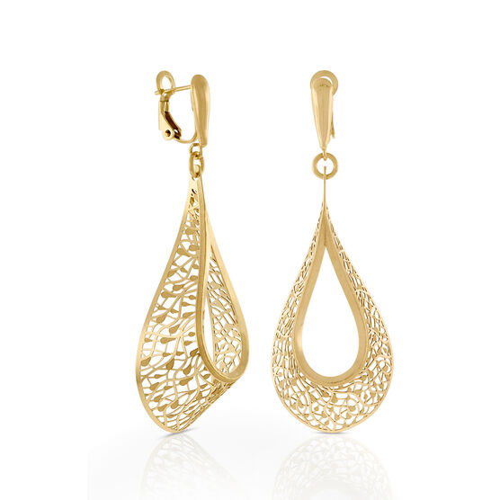 Toscano Open Teardrop Dangle Earrings 14K