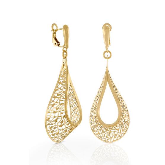Toscano Open Teardrop Dangle Earrings 14K