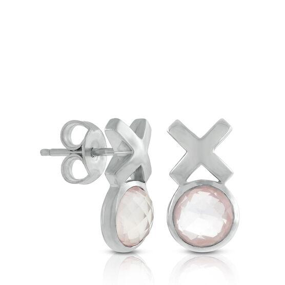 Lisa Bridge Bezel Set Rose Quartz XOXO Earrings