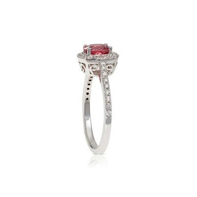 Cushion Pink Spinel & Diamond Ring 14K