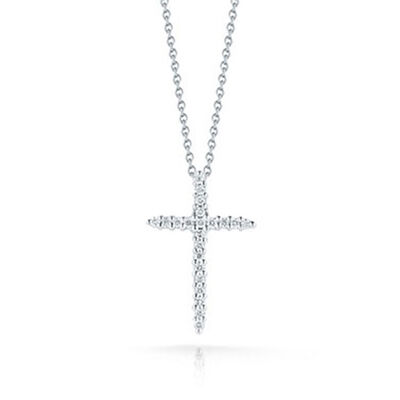 Roberto Coin Tiny Treasures Diamond Cross Necklace 18K
