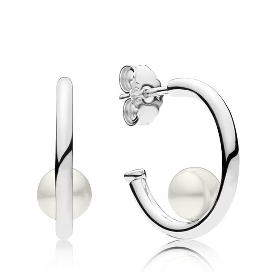 Pandora Contemporary Freshwater Cultured Pearl Hoop Earrings