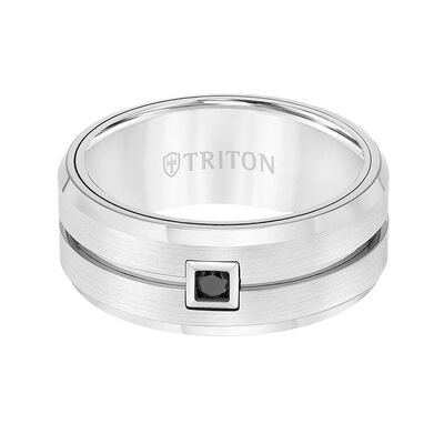 TRITON Stone Contemporary Comfort Fit Brush Finish Black Diamond Band in White Tungsten, 9 mm