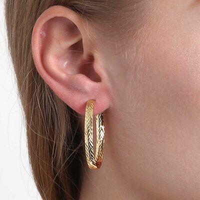 Toscano Diamond Cut Oval Hoop Earrings 14K