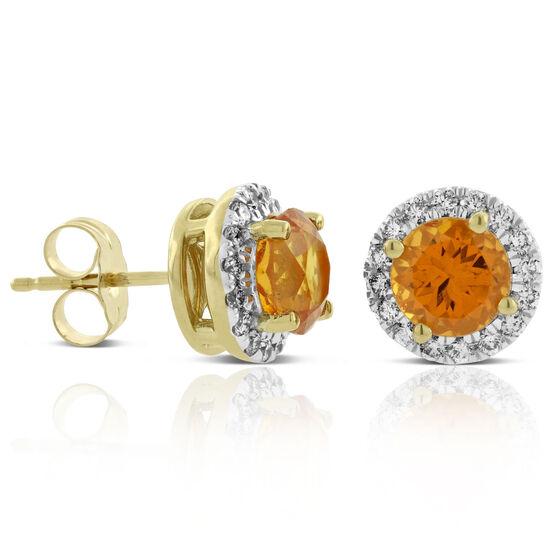 Spessartite Garnet & Diamond Halo Earrings 14K