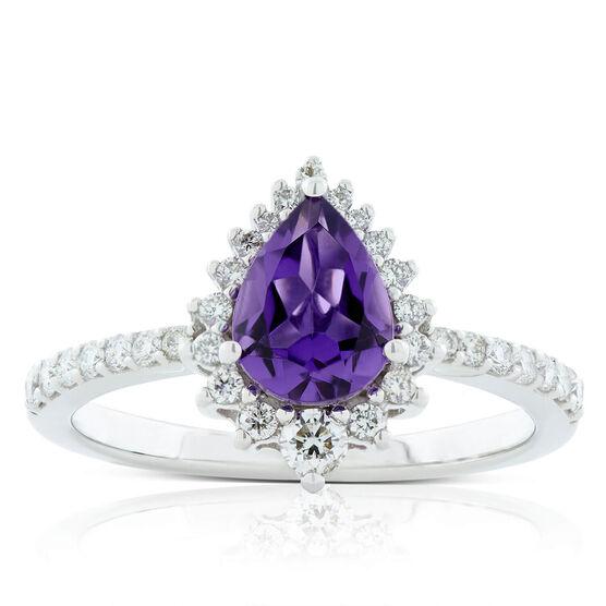 Pear Amethyst & Diamond Halo Ring 14K