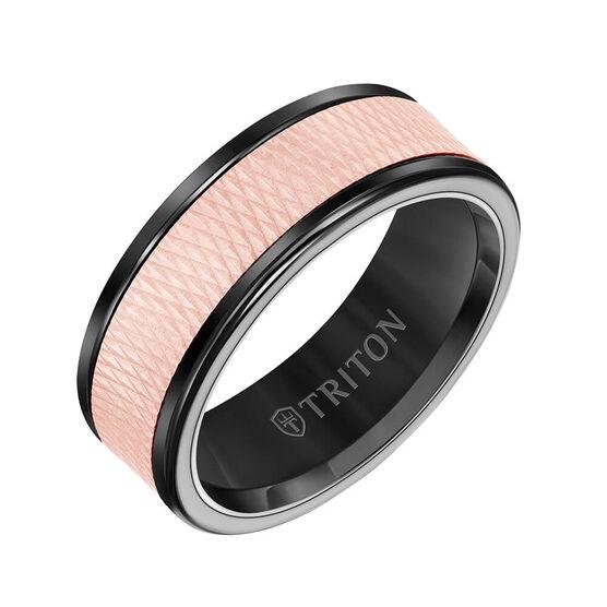 Rose Gold TRITON Custom Comfort Fit Criss Cross Band in Black Tungsten & 14K, 8 mm