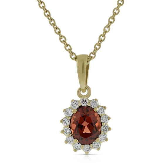 Garnet & Diamond Pendant 14K