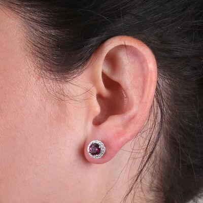 Purple Garnet & Diamond Halo Earrings 14K