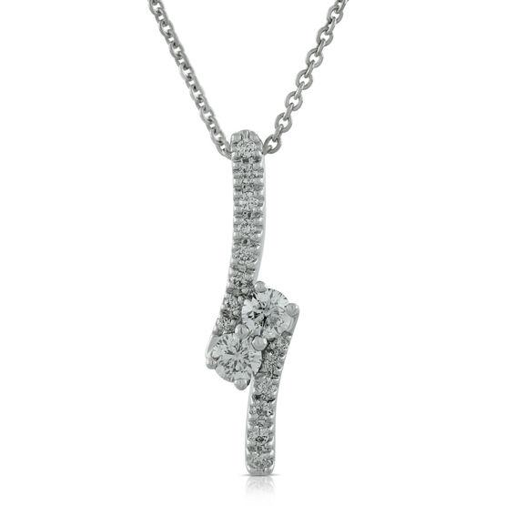 Perfectly Paired 2-Stone Diamond Pendant 14K, 3/8 ctw.