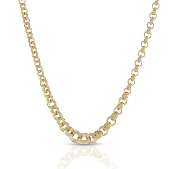 Toscano Graduated Solid Rolo Necklace 18K