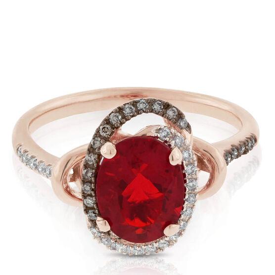 Rose Gold Fire Opal & Diamond Ring 14K