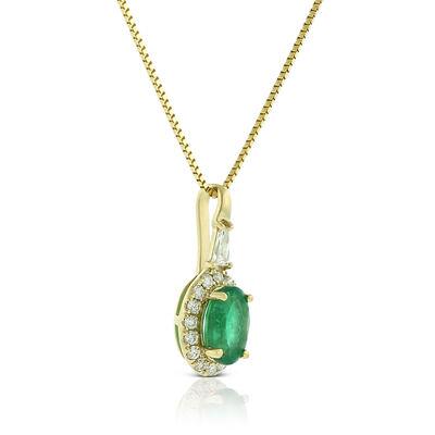 Oval Emerald & Diamond Halo Necklace 14K