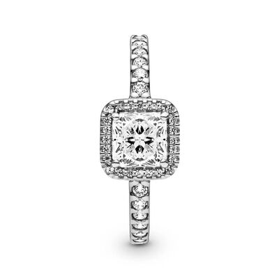 Pandora Square Sparkle Halo CZ Ring