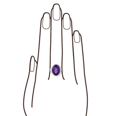 Concave Cut Amethyst & Diamond Ring 14K
