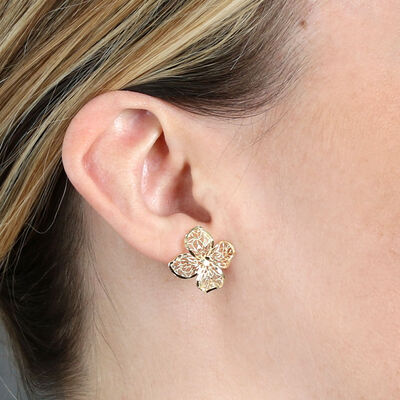 Four Petal Flower Earrings 14K