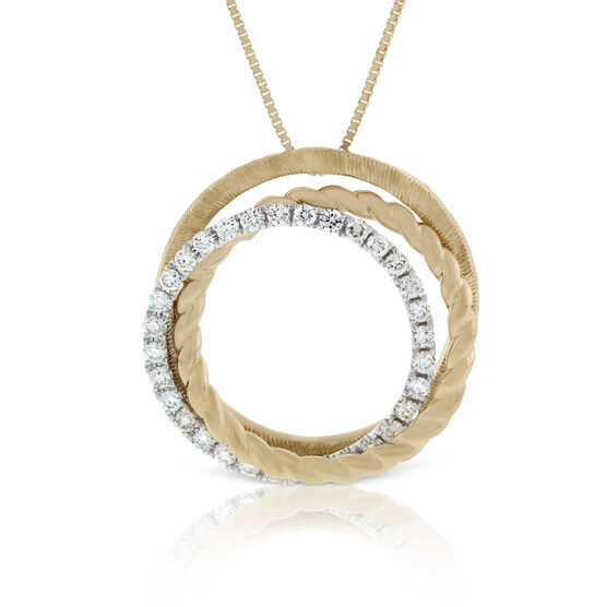 Textured Gold & Diamond Circle Pendant 14K