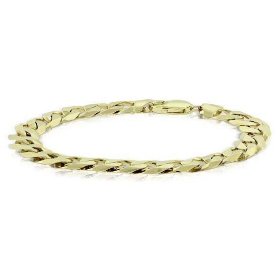 Men's Beveled Curb Link Bracelet 14K