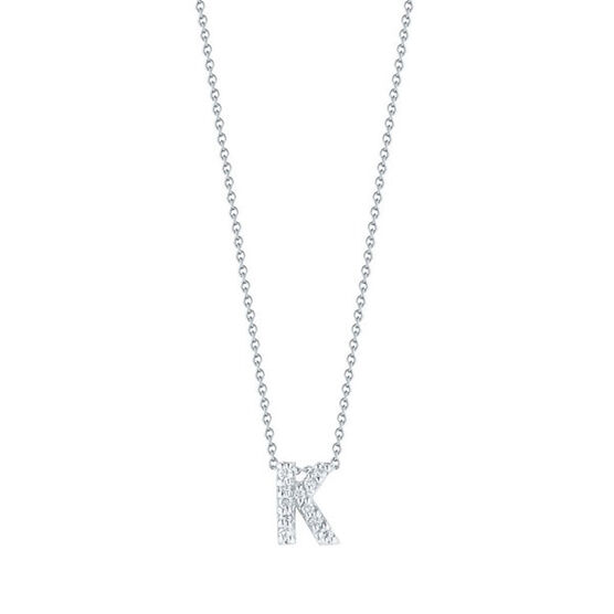 Roberto Coin Tiny Treasures Diamond Initial Pendant 18K Letter 'K'