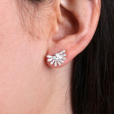 Diamond Fan Earrings 14K