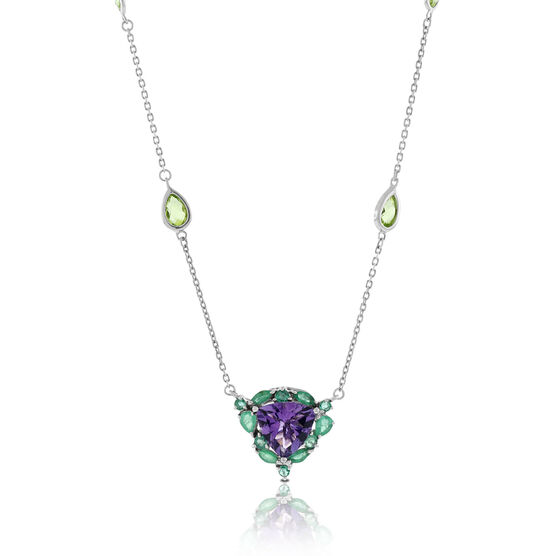 Lisa Bridge Amethyst, Emerald & Peridot Necklace