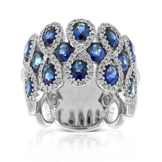 Sapphire & Diamond Infinity Twist Band 14K