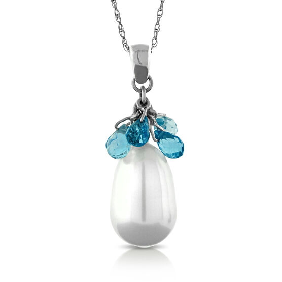 Cultured Pearl & Topaz Pendant 14K