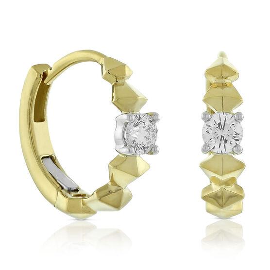 Jade Trau for Signature Forevermark Diamond Huggie Hoop Earrings 18K