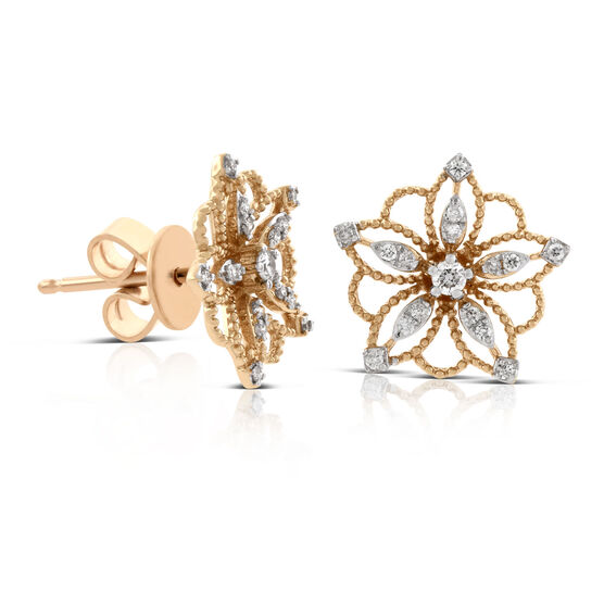 Rose Gold Floral Diamond Earrings 14K