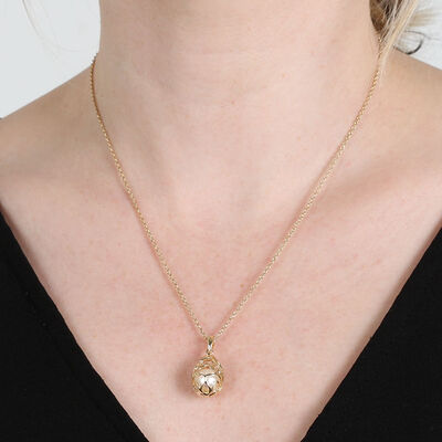 Caged Cultured Freshwater Pearl Necklace 14K