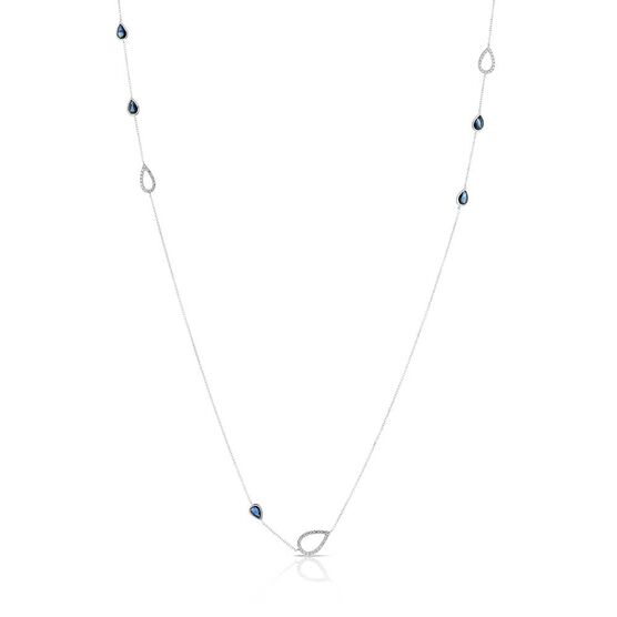 Sapphire & Diamond Pear Station Necklace 14K, 32""