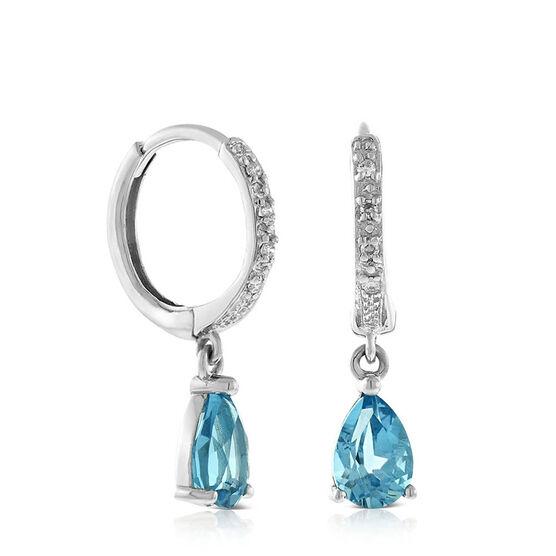 Pear-Shaped Blue Topaz & Diamond Earrings 14K