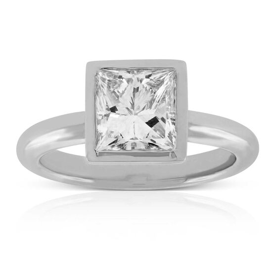 Bezel Set Princess Cut Diamond Ring in Platinum, 2.14 ct. Center