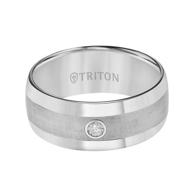 TRITON Stone Contemporary Comfort Fit Satin Finish Diamond Band in Grey Tungsten, 9 mm