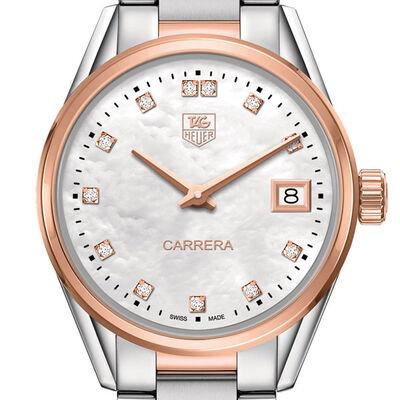 TAG Heuer Carrera Quartz Ladies Mother of Pearl Steel & Rose Gold Watch