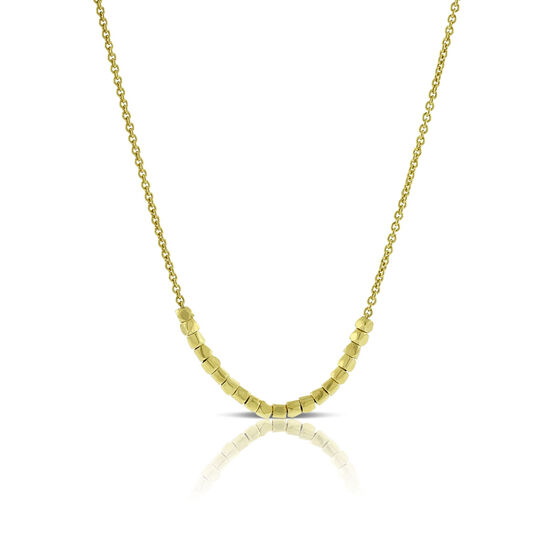 Cube Bead Necklace 14K