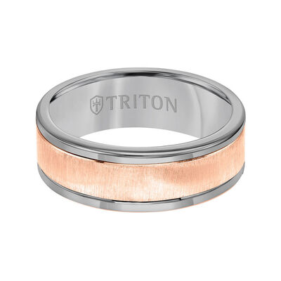 Rose Gold TRITON Custom Comfort Fit Satin Finish Band in Grey Tungsten & 14K, 8 mm