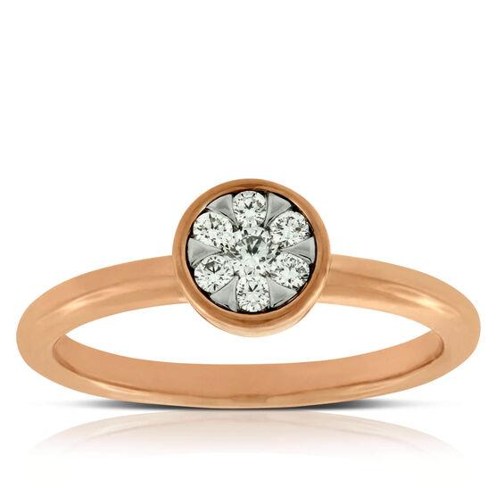 Rose Gold Cluster Ring 14K
