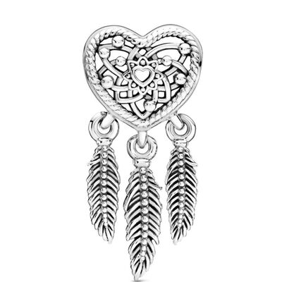 Pandora Openwork Heart & Three Feathers Dreamcatcher Charm