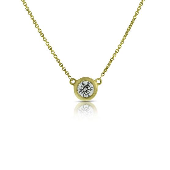 Bezel Set Solitaire Diamond Necklace 14K