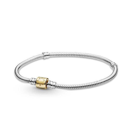 Pandora Moments Two-tone Barrel Clasp Snake Chain Bracelet, 14K & Silver
