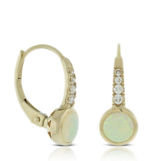 Bezel Set Opal & Diamond Earrings 14K