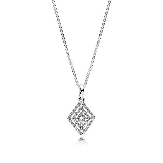 PANDORA Geometric Lines CZ Necklace & Pendant