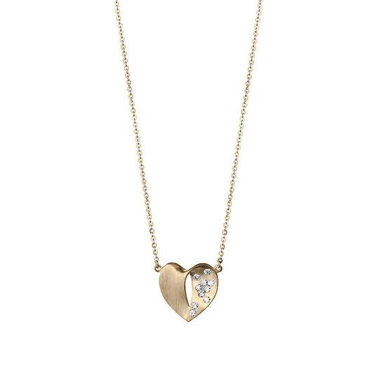 Sprinkled Diamond Heart Necklace 14K